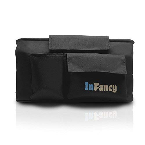 (InFancy Universal Baby Stroller Organizer - Stroller Accessories Caddy With Cup Holder - Parent Console With Cup Holders - Includes Adjustable Shoulder Strap For Taking Your Baby Mobile (Black))
