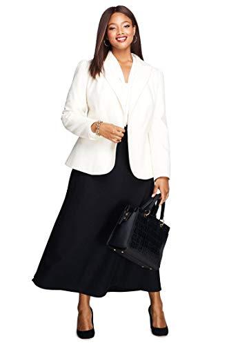 Blend Wool Ivory Jacket (Jessica London Women's Plus Size Wool-Blend Peplum Blazer - Ivory, 24 W)