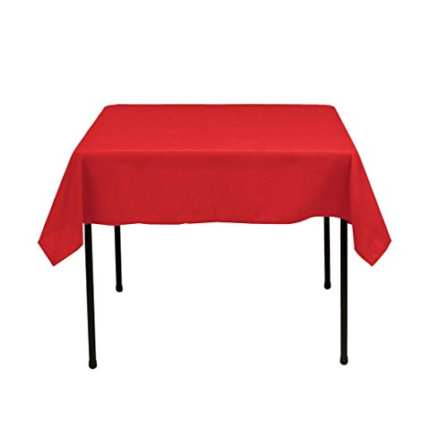 (Gee Di Moda Square Tablecloth - 52 x 52 Inch - Red Square Table Cloth for Square or Round Tables in Washable Polyester - Great for Buffet Table, Parties, Holiday Dinner, Wedding & More)