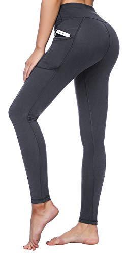 LifeSky High Waist Yoga Pants with Pockets Tummy Control 4 Way Stretch Workout Pants Womens' Active Leggings (9852 Grey, M)