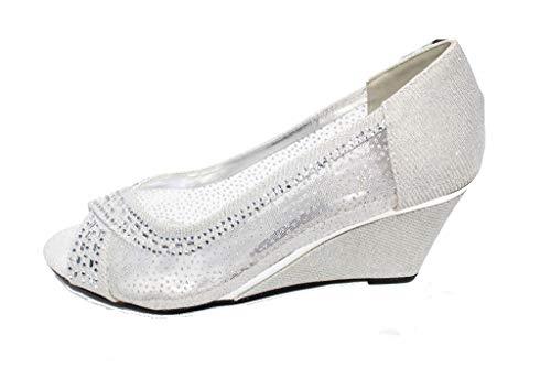 W Décontracté Plat Chaussures Mariage Silver Sandales Or Argent Confort Mesdames Noir san1017 amp; Soirée Taille Femmes rxn1wqrRX