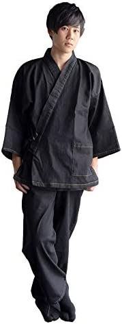 デニム 作務衣 メンズ ストレッチ素材 サイズ M/L/LL(2L) 全3サイズ