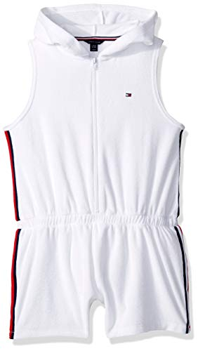 Tommy Hilfiger Big Girl's Big Girls' Fashion Romper Shorts, terry white, - Shorts Girls Terry