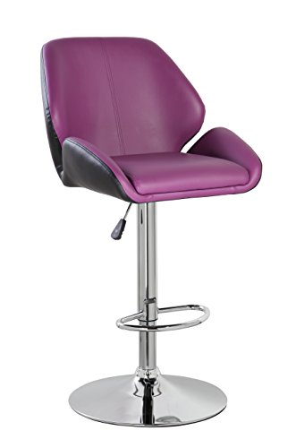 eurosports Adjustable Bar Stools Modern PU Leather Bar Chairs with Footrest by eurosports
