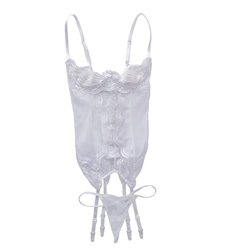 Shirley of Hollywood Shelf Bustier and Garter Set with G-String (26964) 36/White ()