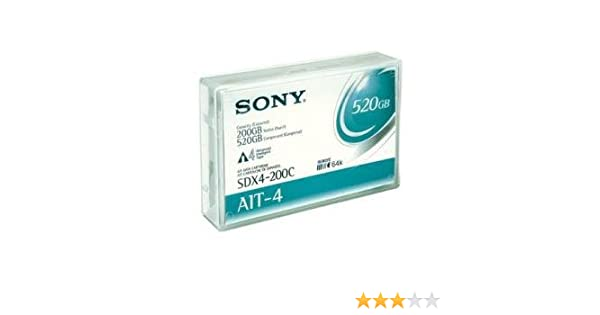 Sony SDX4-200C AIT-4 200/520GB 5000 0 Gauss Residual Magnetic Flux Density  8mm Tape Cartridge