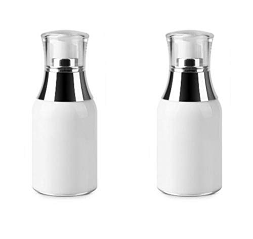 2PCS White Refill Empty Acrylic Airless Pump Vacuum Bottle Jars Makeup Eye Cream Lotion Emulsion Toiletries Liquid Storage Containers Cosmetic Travel Packing Dispenser(50ml/1.7oz)