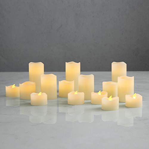 Flameless Votive Candle Set by LampLust, LED Tea Lights and Votives, Warm White Glow, Auto Timer, Multipack, Batteries Included - Set of 15