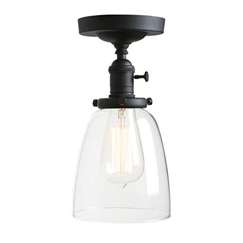 Permo Vintage Industrial Semi Flush Mount Ceiling Light Fixture Pendant Lighting with Oval Cone Clear Glass Shade (Black)