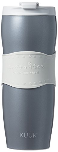 KUUK Travel Cup thermos Mug for Coffee & Tea - Stainless Steel - 12oz (Grey)
