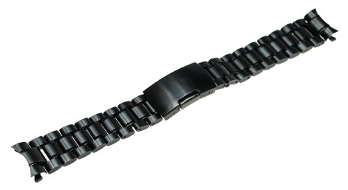 RECHERE Stainless Steel Bracelet Watch Band Strap Curved End Solid Links 4 Color