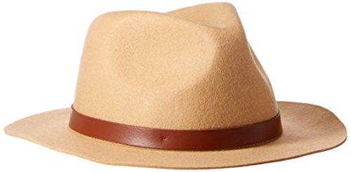 Phenix Cashmere Women's Short Brim Wool Felt Fedora Hat, Camel, One Size