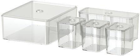 IKEA GODMORGON - Caja con tapa, juego de 5, transparente ...