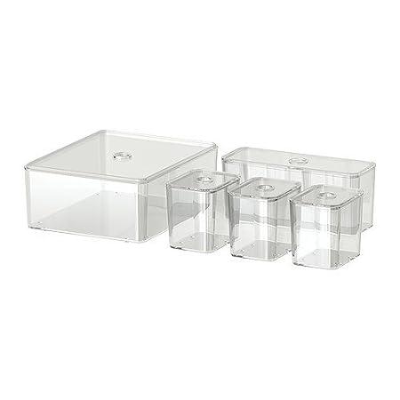 Ikea Godmorgon Box With Lid Set Of 5 Transparent