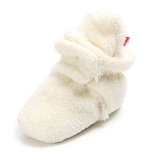 (TIMATEGO Newborn Baby Boys Girls Premium Fleece Booties Non Slip Slipper Socks Infant Toddler First Walker Crib Shoes (0-18 Months) (6-12 Months Infant, A-White Baby Slipper)