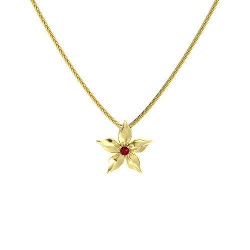 Round Ruby 14K Yellow Gold Necklace â€