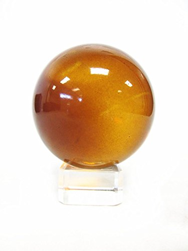 1 pc 100mm Asian Feng Shui Amber Color Glass Crystal Ball with Clear Glass Stand (Amber Crystal Clear)