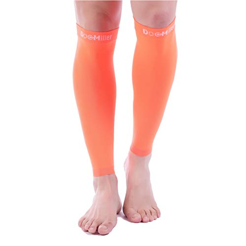Doc Miller Premium Calf Compression Sleeve 1 Pair 20-30mmHg Strong Calf Support Graduated Pressure for Sports Running Muscle Recovery Shin Splints Varicose Veins (Orange, 4X-Large)