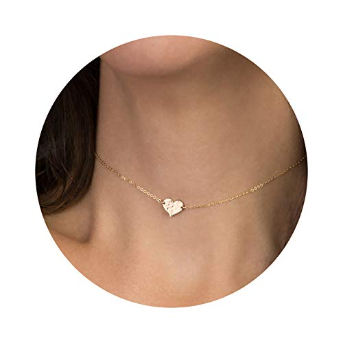 (Mevecco Gold Dainty Heart Hammered Choker Pendant Necklace,18K Gold Plated Tiny Heart Charm Minimalist Chain Handmade Simple Everyday Choker Necklace for Women)