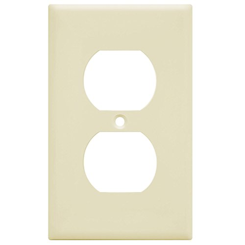 Enerlites Duplex Outlet Wall Plate, 1-4 Gang, Standard Size, Unbreakable Polycarbonate - White … (1 Gang, Light Almond 1-Gang) (Plastic Outlet Wall Plate)