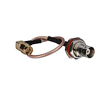 Bingfu RF Pigtail Standard 50 Ohm Waterproof Bulkhead BNC Jack Female to Right Angle SMA Plug Male on 40cm(1.31ft) RG316 Coaxial Cable for RTL-SDR Raspberry ...