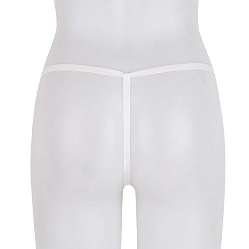 9ba1b272f69b MSemis Women's Nylon Stretchy Pearls Bikini Massage G-String Thongs  Underwear Sexy Lingerie White One_Size