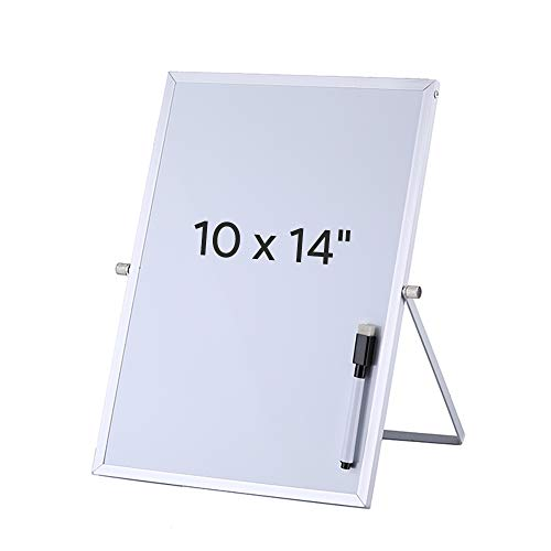 Aelfox Desktop Small White Board, Magnetic Dry Erase Board with Stand Double-Sided Planner Reminder Board with Dry Erase Maker for Office, Home, School(10 x 14 inch/ 25 x 35 cm)