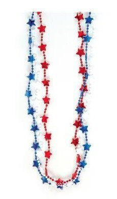 RIN (3 DZ) 33'' Patriotic Star Beads Necklaces ~ PATRIOTIC ~