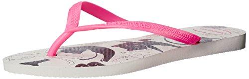 Havaianas Women's Slim Pets Sandal, White/Shocking Pink 39/40 BR (9/10 M US)