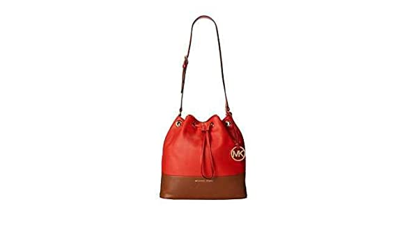 3c470f6a0e76 Michael Kors Jules Large Bucket Colorblock Drawstring Shoulder Bag Mandarin  Orange-Red and Luggage Brown Leather Crossbody: Handbags: Amazon.com