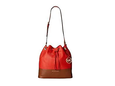 f3b25f72e29a Image Unavailable. Image not available for. Color: Michael Kors Jules Large  Bucket Colorblock Drawstring Shoulder Bag Mandarin Orange-Red ...