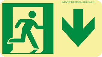 Final Exit Sign - NYC Final EXIT Sign,UP Left, 11X8, Rigid, 7550 GLO Brite, MEA Approved