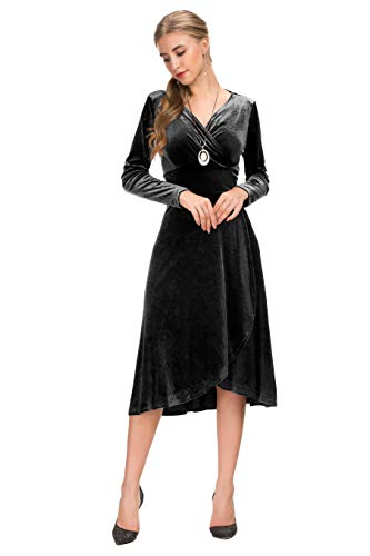 Le Vonfort Formal Dress for Women, Velvet Long Sleeve Wrap Vneck Pure Color Fit and Flare Cocktail Midi Dresses Black Medium