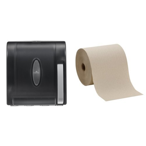 Paddle Roll Dispenser with 6-Pack Brown Hard Roll Refill Bundle ()