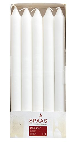 10 Classic White Dinner / Table Candles - 24cm - 8 Hour Burn - Non Drip by Spaas