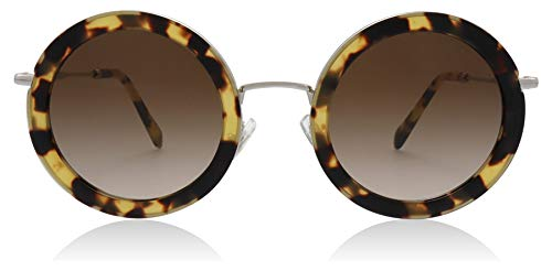 Miu Miu MU59US 7S06S1 Light Havana MU59US Round Sunglasses Lens Category 3 ()
