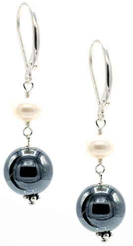 Round Hematite Bead and White Potato Freshwater Cultured Pearl Accent on Sterling Silver Drop Earrings ()