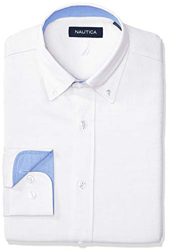 Nautica Men's Classic Fit Button Down Collar Oxford Dress Shirt, White, 15.5 34/35