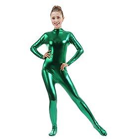 Ensnovo Womens Shiny Metallic Zentai Suit Wetlook Spandex Turtleneck Unitard Greens