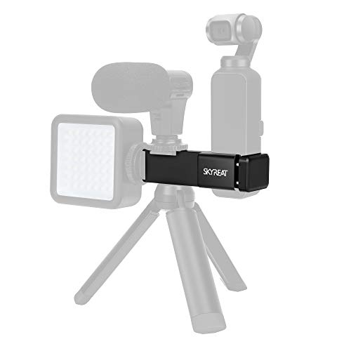 Skyreat Aluminum External Microphone Mount Holder for DJI Osmo Pocket Accessories,with 2 Cold Shoe Interface & 1/4 Screw Hole Support Led Light & Tripod Mount
