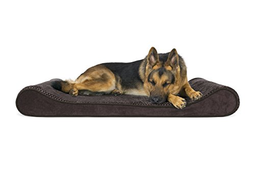 FurHaven Pet Dog Bed   Orthopedic Minky Plush & Velvet Luxe Lounger Pet Bed for Dogs & Cats, Espresso, Jumbo (Bed Dog Rug)