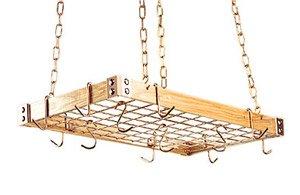Gourmet Hanging Pot Racks with Metal Accents Metal: Brass, Wood: Light