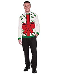 Forum Novelties Adult All Wrapped Up White Ugly Christmas Sweater, Multi, Large