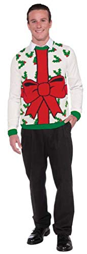 Forum Novelties Adult All Wrapped Up White Ugly Christmas Sweater, Multi, -