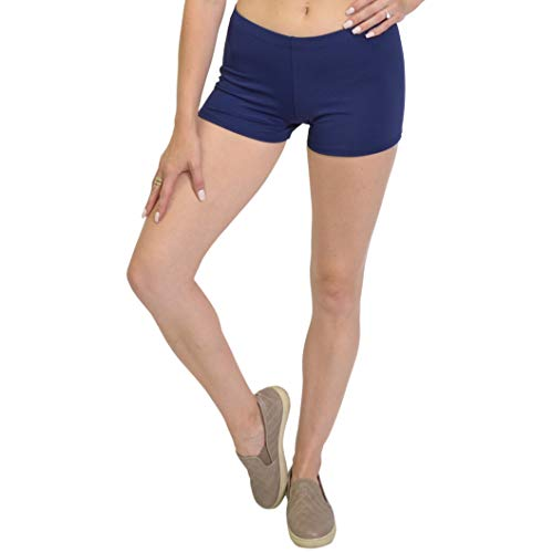 Stretch is Comfort Women's NYLON SPANDEX Stretch Booty Shorts Navy Blue Small (Blue Cheer Shorts)
