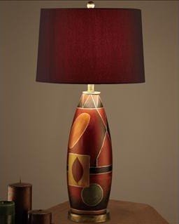 Beutiful Contemporary Table Lamp with Red Hue Color Shade and Earth Color Base Pd11#f5346 by Poundex by HP
