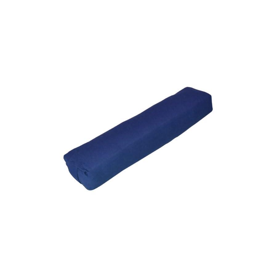 YogaDirect Pranayama Cotton Yoga Bolster, Blue