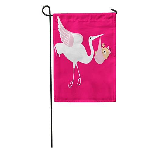 Nfuquyamluggage Garden Flag Announcement Stork Baby Girl Birth Beak Beginnings Bird Bees Born Home Yard House Decor Barnner Outdoor Stand 12x18 Inches Flag ()