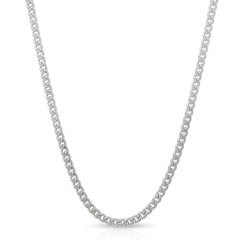 14k White Gold 2mm Solid Miami Cuban Curb Link Thick Necklace Chain 16'' - 30'' (24) by In Style Designz