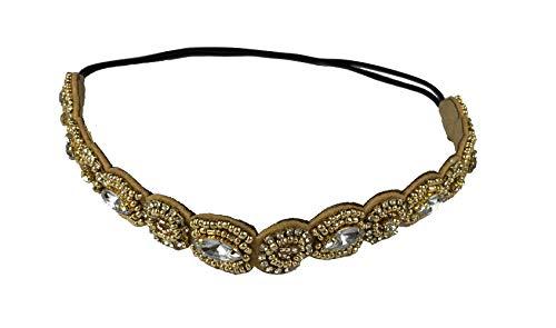 Rhinestone Beaded Hair Hoops Headbands Jewels Workmanship Headbands Elastic Non Slip Hair Bands Women Lady Girls Hair Straps Jewelry Accessories (Gold)